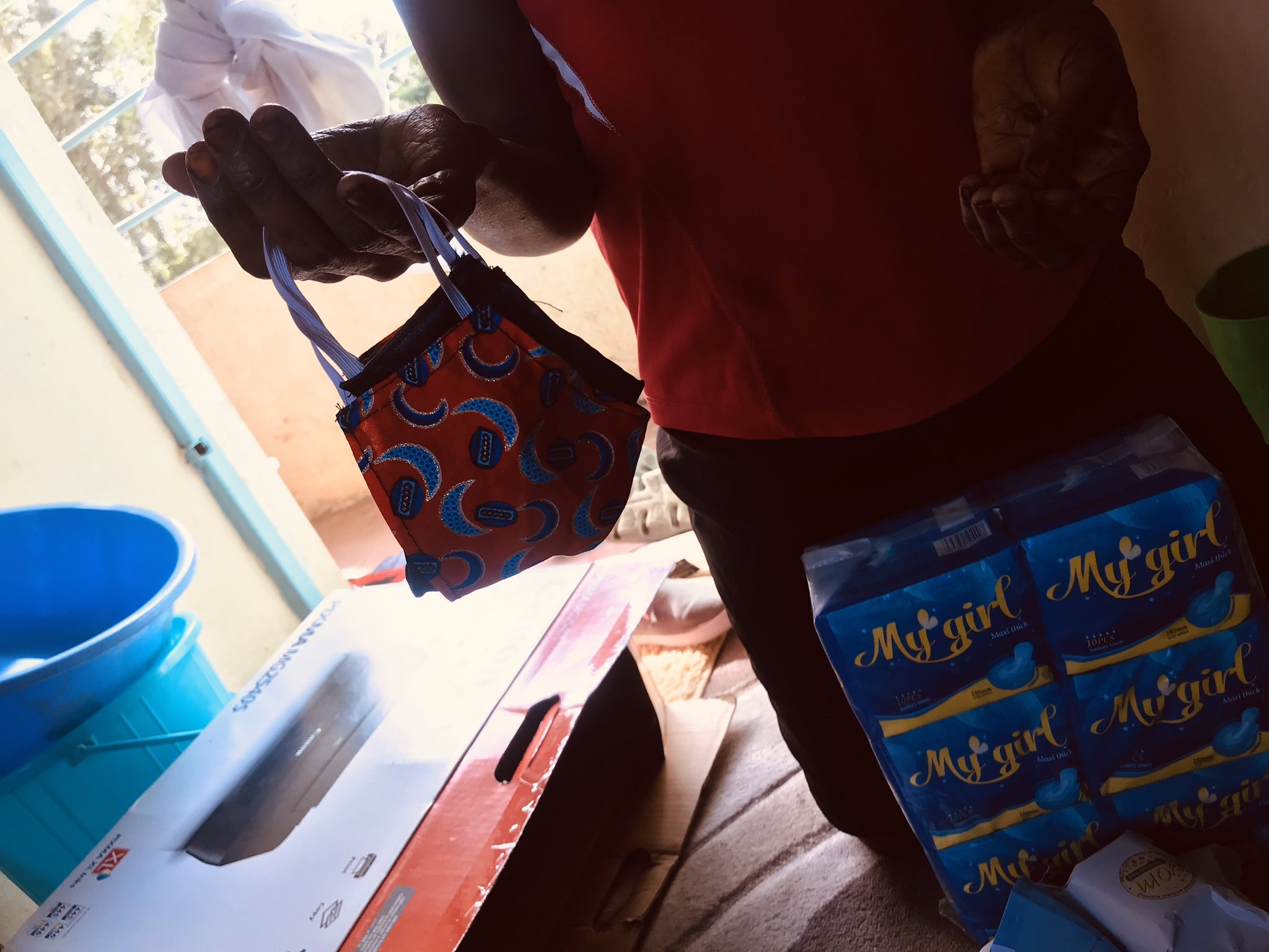 Period Pads being received during the Covid-19 aid drive.