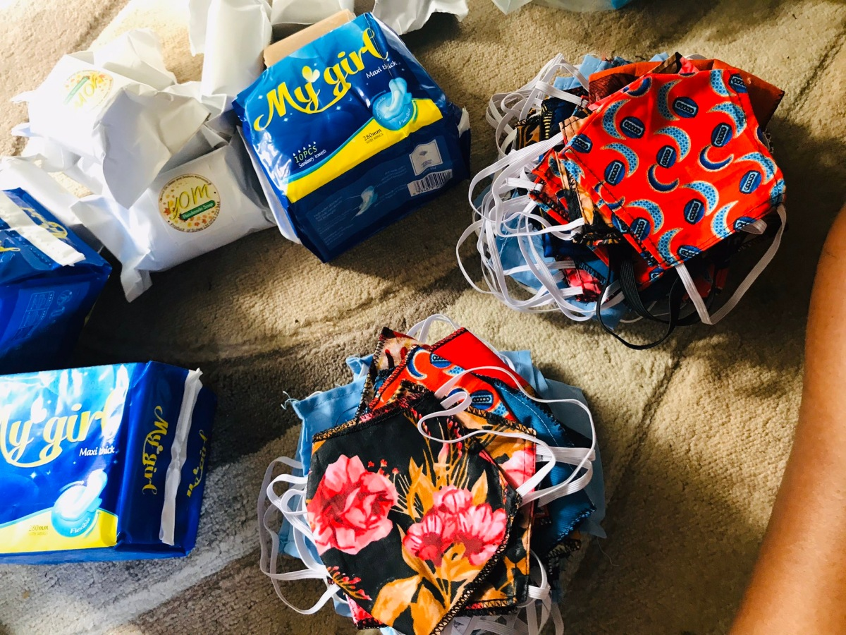 Face masks, pads, and liners received during the Covid-19 aid drive.